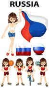 Russia flag and woman athlete Stock Illustration