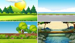 Four different scenes at daytime Stock Illustration