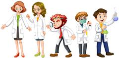 Male and female scientists in white gown Stock Illustration