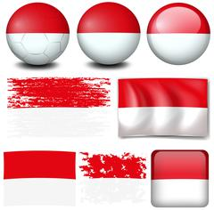 Indonesia flag on different items Stock Illustration
