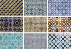 Set traditional azulejos tiles Stock Photos