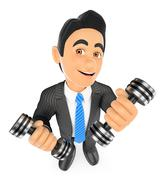 3D Businessman exercising with two dumbbells fitness. Overcoming - stock illustration