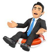 3D Businessman sitting in a lifesaver. Bankrupt company Stock Illustration