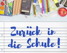 Back to School in German Schulanfang - Stifte und Schulutensilien - stock photo