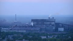 smoke steel plant,Polluting factory at dawn, time-lapse - stock footage