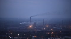 Polluting metallurgical factory at dawn, time-lapse - stock footage