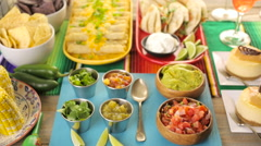 Fiesta party buffet table with traditional Mexican food. Stock Footage