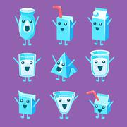 Milk Container Character Set Stock Illustration