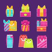 Gift Packages Set Stock Illustration