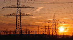 Electrical power supply (electrical towers) Stock Footage