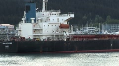 Cargo ship docked in Alaska Stock Footage