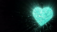Rotating luminous 3d frozen heart formed pieces and cubes Stock Footage