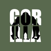 Gorilla. Silhouette of wild animal in text. Big monkey and Typography. Aggres Stock Illustration