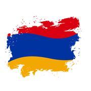 Armenia flag Grunge style on gray background. Brush strokes and ink splatter. Piirros