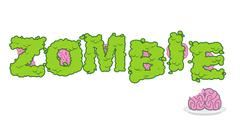 Zombie text. Green terrible letter and brains. horror Lettering and typograph - stock illustration