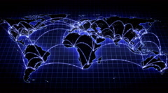 Growing global network across the world map. Internet and business concept. 4K - stock footage