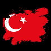 Turkey flag grunge style on black background. Brush strokes and ink splatter. Piirros