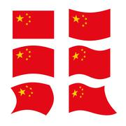 China Flag. Set national flag of Chinese state. Red flag and golden stars Stock Illustration