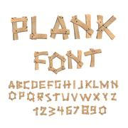 Plank font. Wooden table alphabet. Old boards with nails ABC. letters put tog - stock illustration