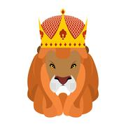Lion King and crown. Head of a predator with shaggy mane and royal headdress. - stock illustration