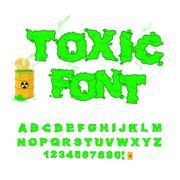 Toxic font. Green alphabet nuclear waste. Venomous acid alphabet. Yellow barr - stock illustration