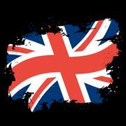 UK flag grunge style on black background. Brush strokes and ink splatter. Nat Piirros