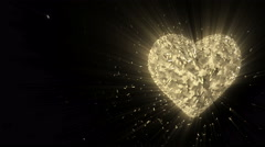 Rotating luminous 3d golden heart formed pieces and cubes Stock Footage
