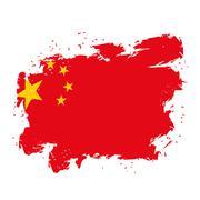 China Flag grunge style on white background. Brush strokes and ink splatter.  Piirros