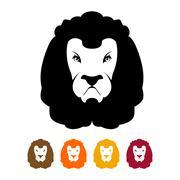 Lion head silhouette. Predator Much to mane. Ferocious wild animal emblem fla Stock Illustration