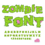 Zombie font. Scary Green letters and brain. Horrible Halloween Alphabet.  ABC Stock Illustration