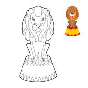 Circus lion coloring book. Big Serious animal in linear style. Wild cruel ani Stock Illustration
