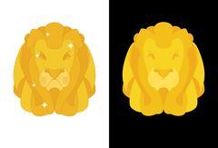 Gold Lion. Predators head with mane of yellow golden precious metal. Treasure Piirros
