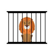 Lion in zoo cage. Strong Scary wild animals in captivity. Big hairy predator  Stock Illustration