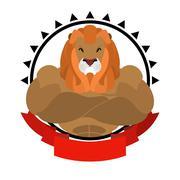Lion athlete round emblem. Big wild animal with shaggy mane. Beasts of prey w Piirros