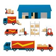 Logistic Related Illustrations Set Stock Illustration