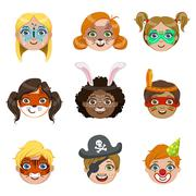 Kids With Painted Faces Portraits Collection Stock Illustration