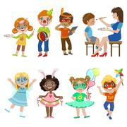 Kids With Painted Faces Set Stock Illustration