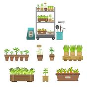 Gardening Related Objects Collection Stock Illustration