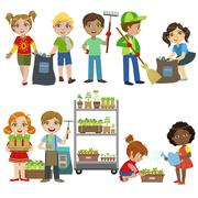Kids Gardening And Picking Up Garbage Set - stock illustration