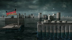 Apocalyptic water view. urban flood Germany flag. Storm. 3d render Stock Footage
