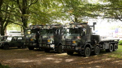 Dutch Military Trucks on Exhibition  - The Hague Netherlands - stock footage