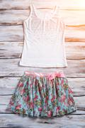 Floral skirt and tank top. Stock Photos