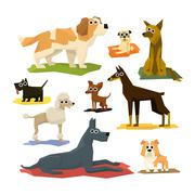 Different Dog Breeds Collection - stock illustration