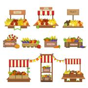 Vegetables Market Stands Set Stock Illustration