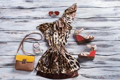 Leopard dress and wedge sandals. - stock photo