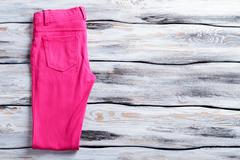 Bright pink casual trousers. Stock Photos