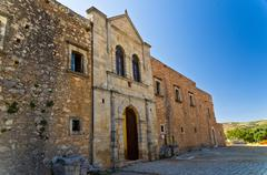 External wall of Arcadi monastery, island of Crete Stock Photos