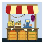 Market Stand With Fresh Vegetables Stock Illustration