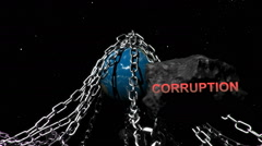Earth with chains highlighting humanities problems, Corruption - stock footage