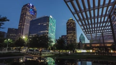 Dallas skyline TimeLapse sunset from dusk to dark in Arts District Stock Footage